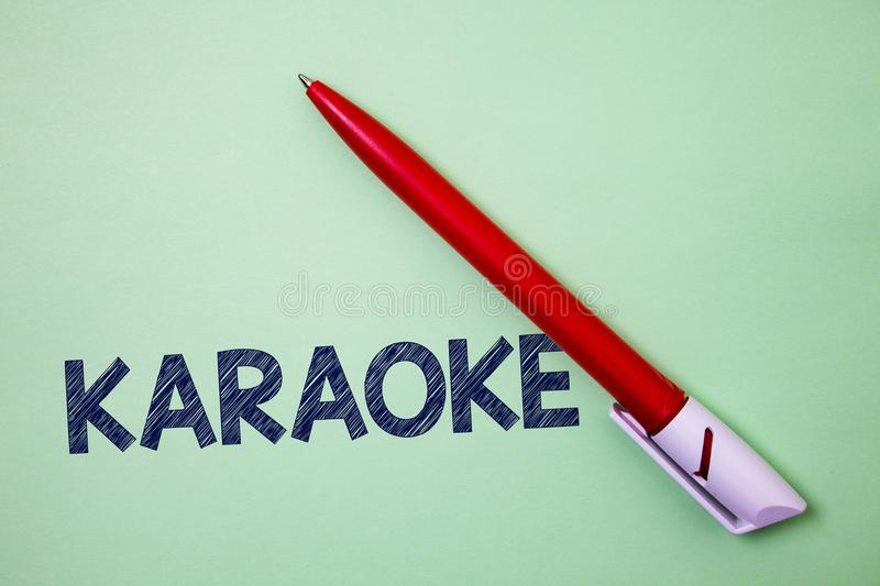 Handwriting text Karaoke. Concept meaning Entertainment singing along instrumental music played by a machine Ball point artwork sm. Ooth parallel lines pattern royalty free stock images
