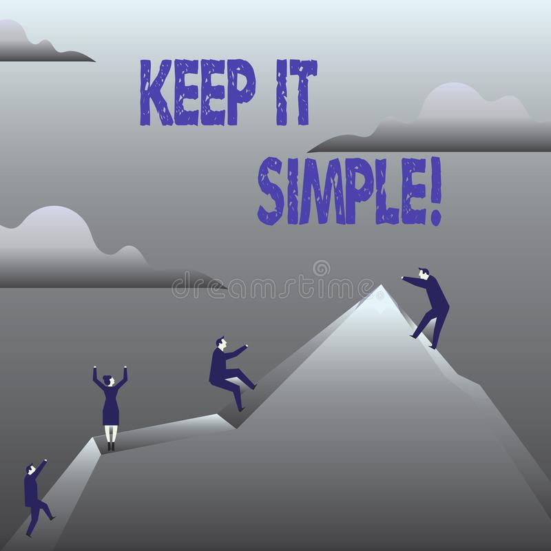 Handwriting text Keep It Simple. Concept meaning Simplify Things Easy Clear Concise Ideas. Handwriting text Keep It Simple. Concept meaning Simplify Things Easy stock illustration