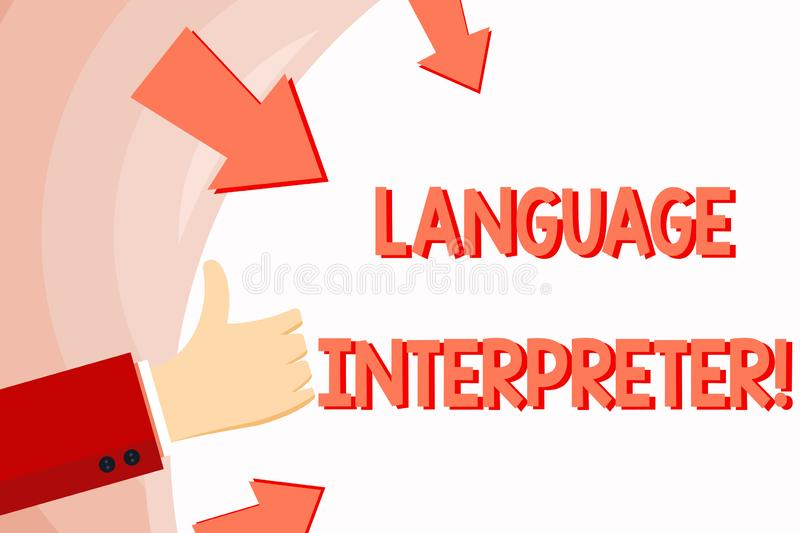 Handwriting text Language Interpreter. Concept meaning Convey messages between two different languages Hand Gesturing. Handwriting text Language Interpreter vector illustration