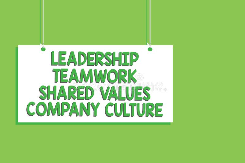 Handwriting text Leadership Teamwork Shared Values Company Culture. Concept meaning Group Team Success Hanging board message commu. Nication open close sign stock illustration