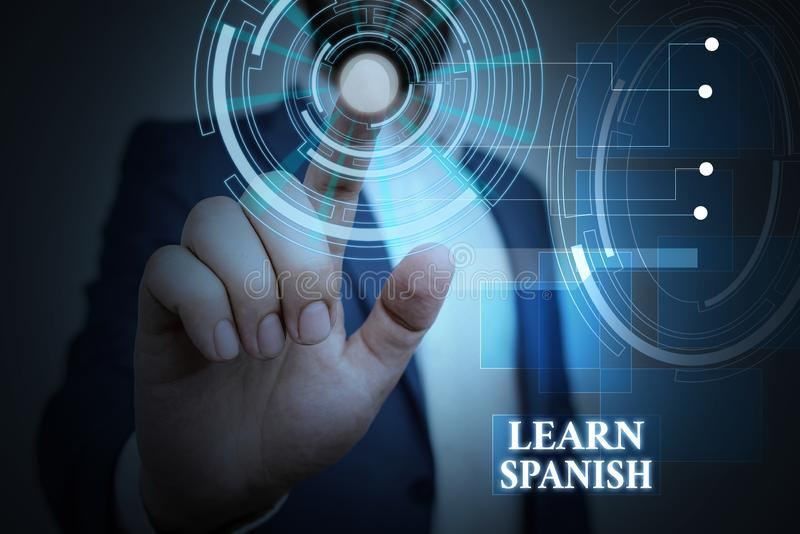 Handwriting text Learn Spanish. Concept meaning Translation Language in Spain Vocabulary Dialect Speech Male human wear. Handwriting text Learn Spanish royalty free stock photo
