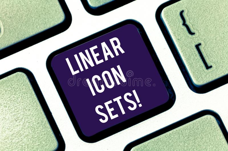 Handwriting text Linear Icon Sets. Concept meaning figures help us to go faster in way or open phone app Keyboard key. Intention to create computer message royalty free stock photo