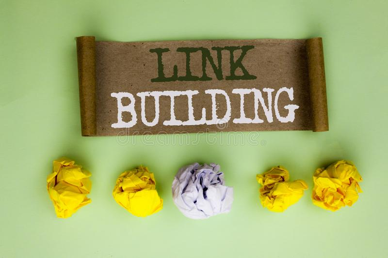 Handwriting text Link Building. Concept meaning Process of acquiring hyperlinks from other websites Connection written on Cardboar. Handwriting text Link royalty free stock photo