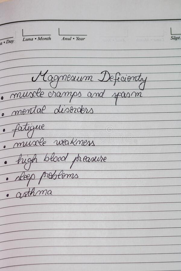 Handwriting text magnesium deficiency symptoms on page of office agenda. Copy space royalty free stock photo