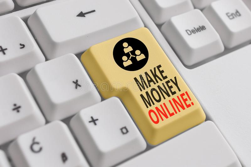 Handwriting text Make Money Online. Concept meaning making profit using internet like freelancing or marketing White pc keyboard. Handwriting text Make Money royalty free stock image
