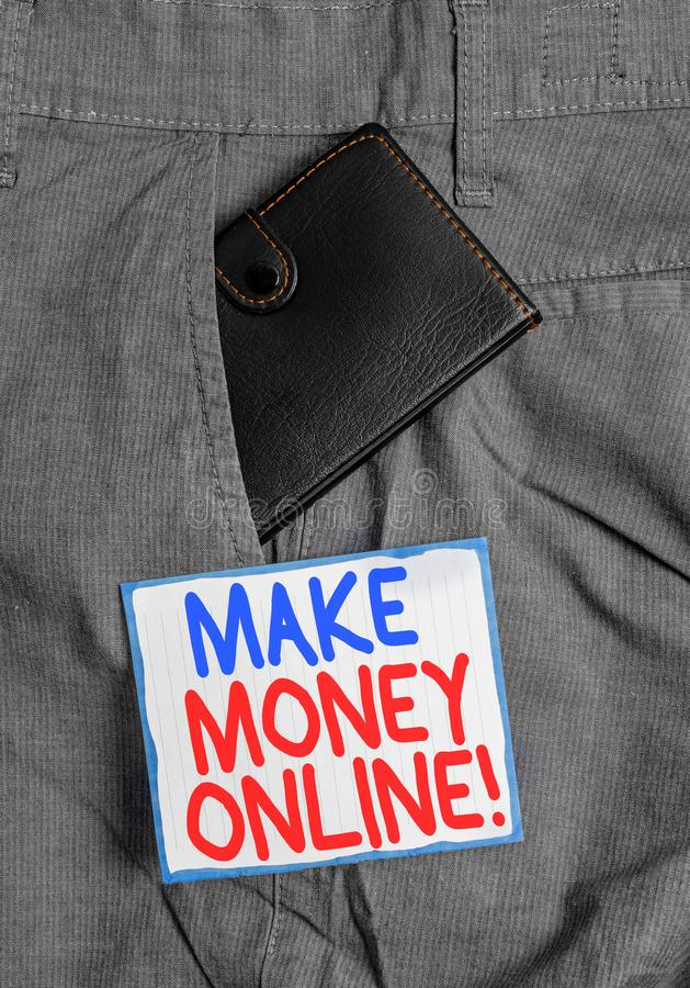 Handwriting text Make Money Online. Concept meaning making profit using internet like freelancing or marketing Small little wallet. Handwriting text Make Money royalty free stock photos