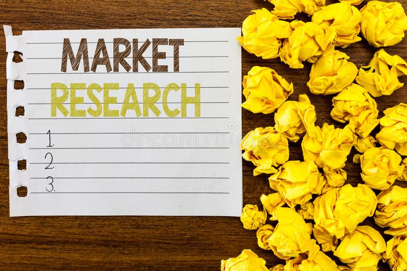 Handwriting text Market Research. Concept meaning The acttion of gathering information about consumers.  royalty free stock photography