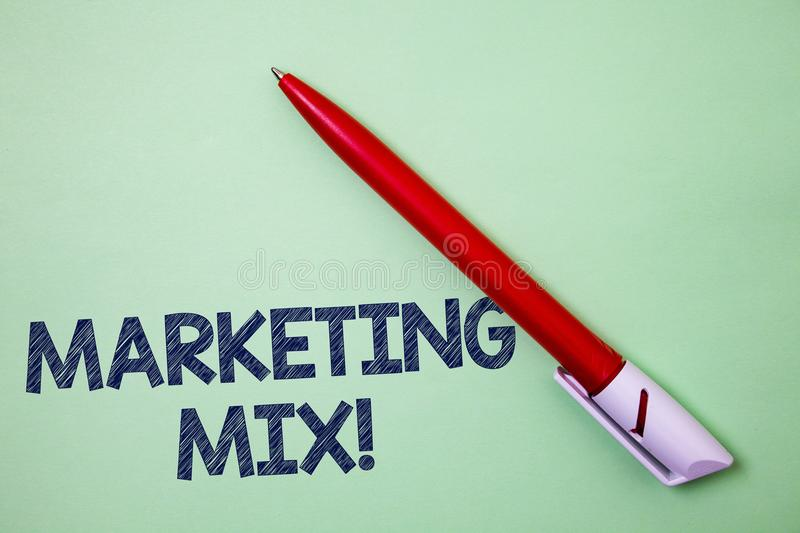 Handwriting text Marketing Mix Motivational Call. Concept meaning Actions to promote brand product in market Ball point artwork sm. Ooth parallel lines pattern royalty free stock images