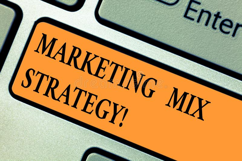Handwriting text Marketing Mix Strategy. Concept meaning Set of governable tactical marketing tool company use Keyboard. Key Intention to create computer stock photos