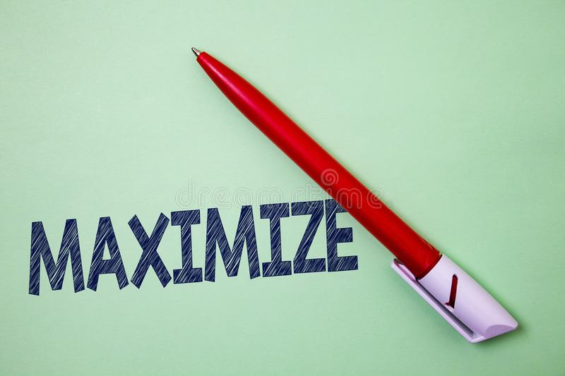 Handwriting text Maximize. Concept meaning Increase to the greatest possible amount or degree Make larger Ball point artwork smoot. H parallel lines pattern stock image