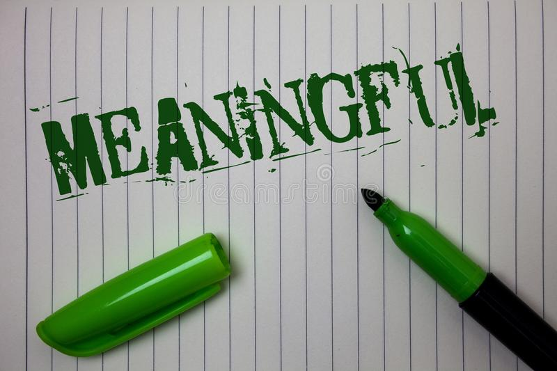 Handwriting text Meaningful. Concept meaning Having meaning Significant Relevant Important Purposeful Linned paper background pen. Cap marker highlighter ink stock photos