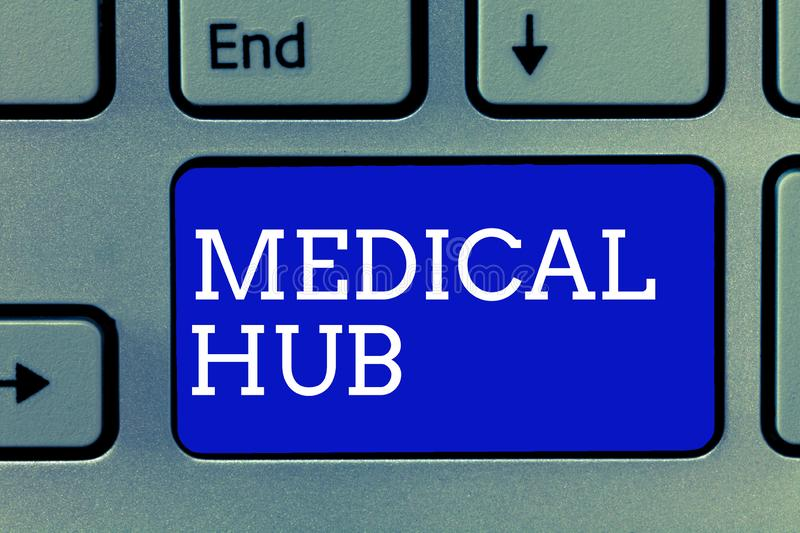 Handwriting text Medical Hub. Concept meaning Common connection point for medical devices in a network.  royalty free stock images