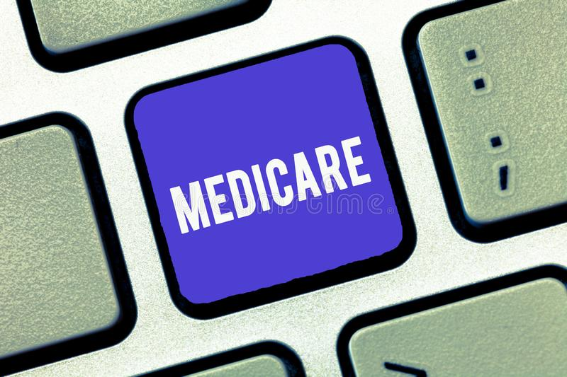 Handwriting text Medicare. Concept meaning federal government plan in us for paying certain hospital.  stock image