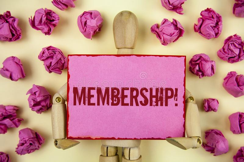 Handwriting text Membership. Concept meaning Being member Part of a group or team Join organization company written on Sticky Note stock photo