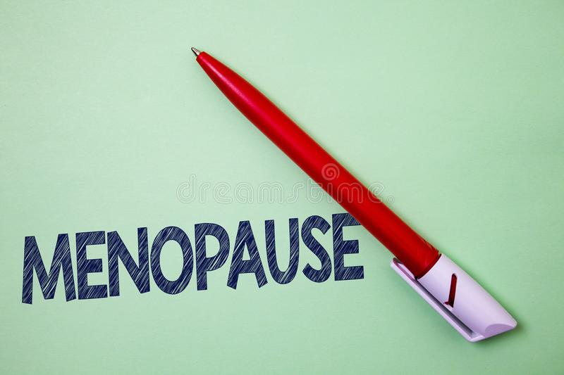 Handwriting text Menopause. Concept meaning Cessation of menstruation Older women hormonal changes period Ball point artwork smoot. H parallel lines pattern royalty free stock image