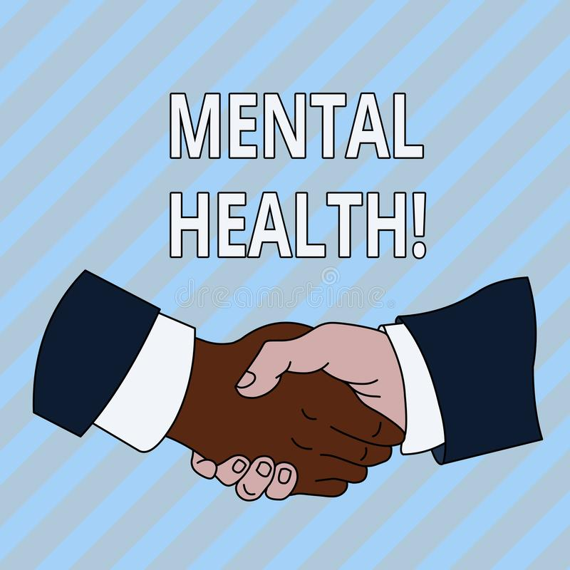 Handwriting text Mental Health. Concept meaning demonstratings condition regard to their psychological well being Hand. Handwriting text Mental Health vector illustration