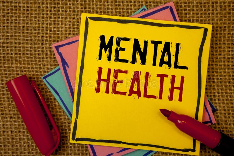 Handwriting text Mental Health. Concept meaning Psychological and Emotional Condition Wellbeing of a person. Handwriting textss Mental Health. Concept meaning royalty free stock photos