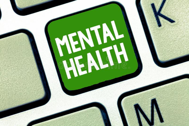 Handwriting text Mental Health. Concept meaning Psychological and emotional wellbeing condition of a demonstrating.  stock images