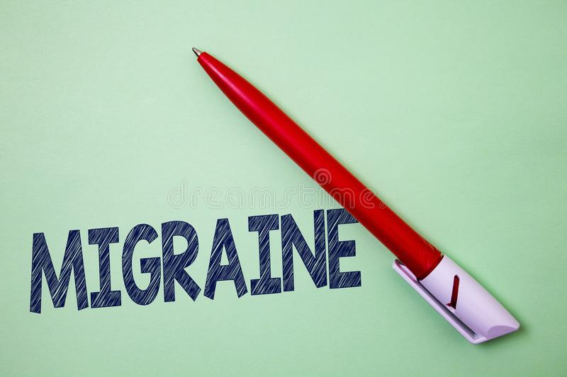 Handwriting text Migraine. Concept meaning Recurrent headache in one side of head nausea and disturbed vision Ball point artwork s. Mooth parallel lines pattern stock photo