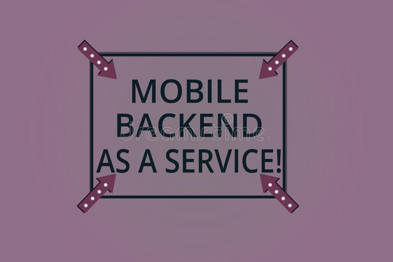 Handwriting text Mobile Backend As A Service. Concept meaning Mbaas Link web and mobile apps to cloud storage Square. Outline with Corner Arrows Pointing royalty free illustration