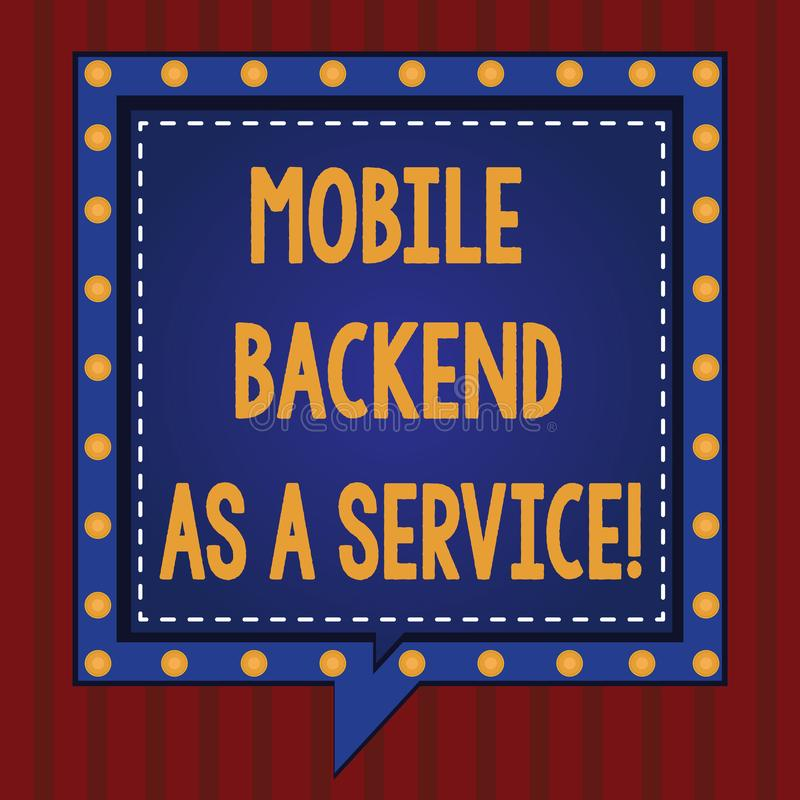 Handwriting text Mobile Backend As A Service. Concept meaning Mbaas Link web and mobile apps to cloud storage Square. Speech Bubbles Inside Another with Broken stock illustration