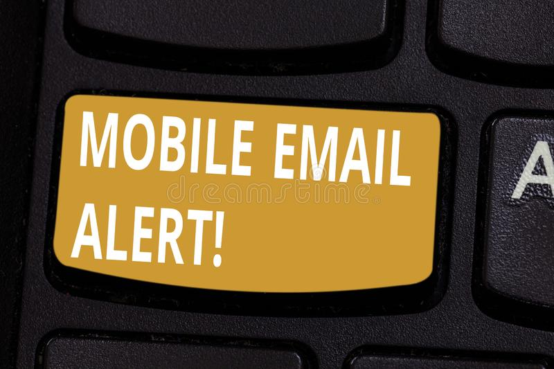 Handwriting text Mobile Email Alert. Concept meaning machine to demonstrating communication that is time sensitive. Keyboard key Intention to create computer royalty free illustration