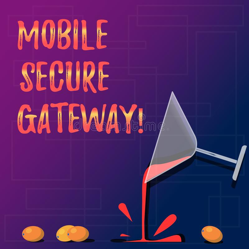 Handwriting text Mobile Secure Gateway. Concept meaning Securing devices from phishing or malicious attack Cocktail Wine Glass. Pouring Liquid with Splash royalty free stock images