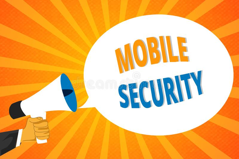 Handwriting text Mobile Security. Concept meaning Protection of mobile phone from threats and vulnerabilities.  vector illustration