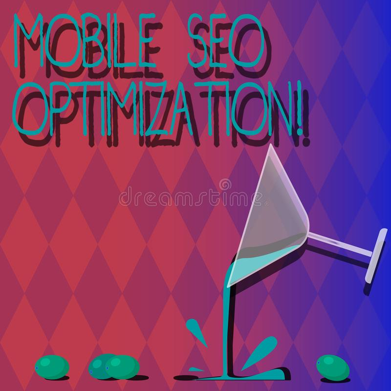 Handwriting text Mobile Seo Optimization. Concept meaning enables a website to rank for mobile searches Cocktail Wine Glass. Pouring Liquid with Splash Grapes vector illustration