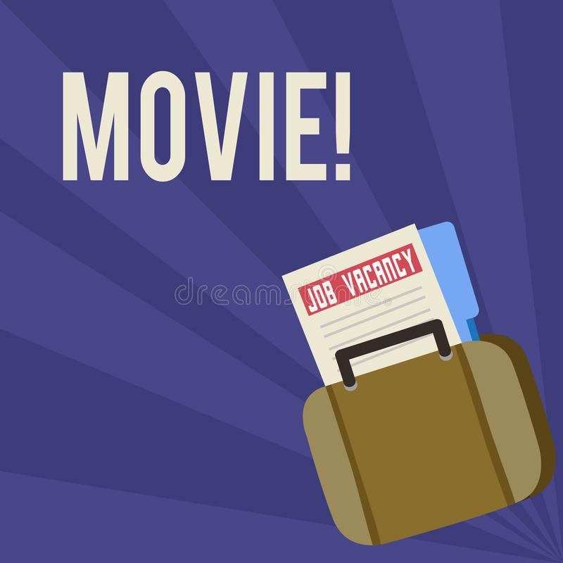Handwriting text Movie. Concept meaning Cinema or television film Motion picture Video displayed on screen Announcement. Handwriting text Movie. Conceptual photo royalty free illustration