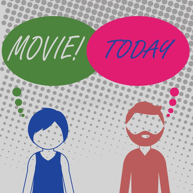 Handwriting text Movie. Concept meaning Cinema or television film Motion picture Video displayed on screen Bearded Man. Handwriting text Movie. Conceptual photo royalty free illustration