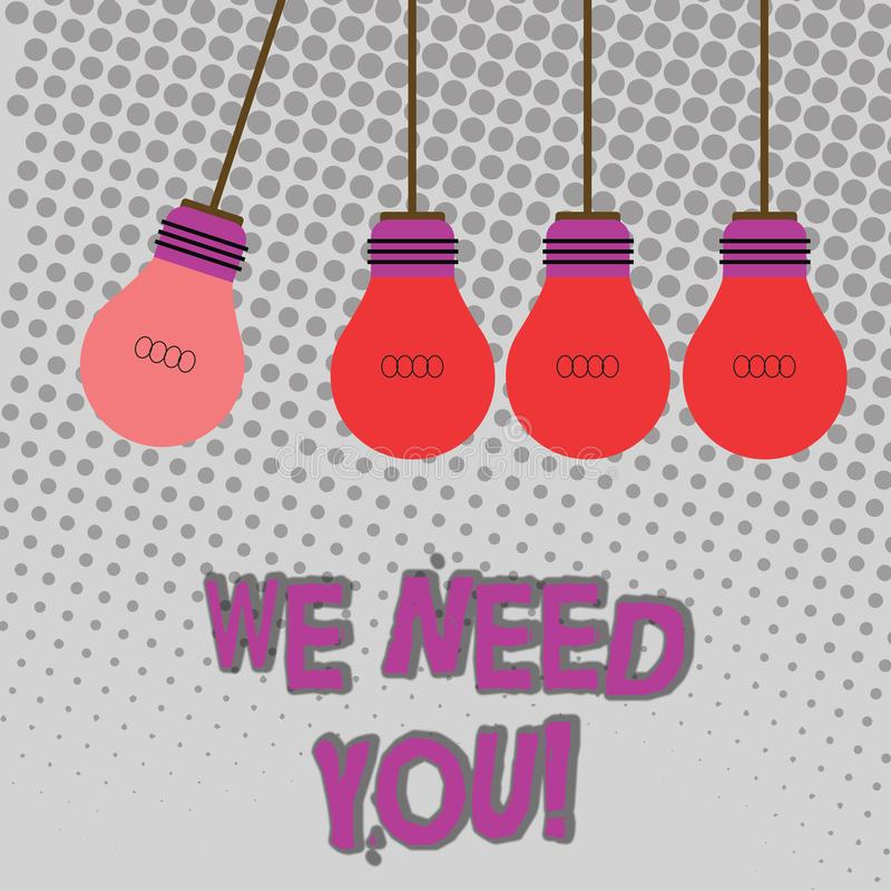 Handwriting text We Need You. Concept meaning asking someone to work together for certain job or target Color. Handwriting text We Need You. Conceptual photo royalty free illustration