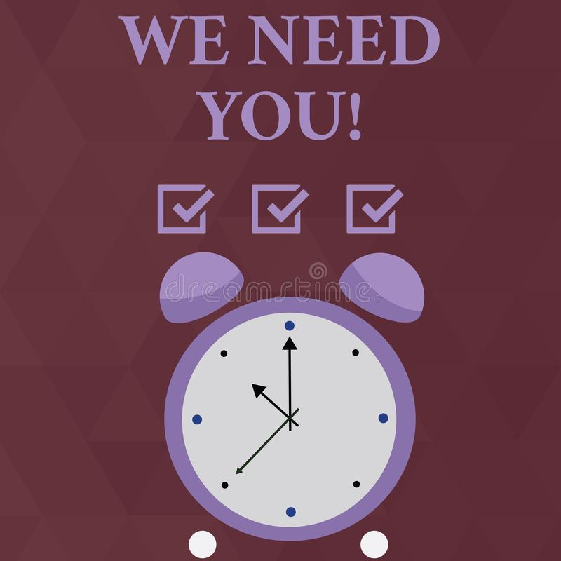 Handwriting text We Need You. Concept meaning asking someone to work together for certain job or target Colorful Round. Handwriting text We Need You. Conceptual vector illustration