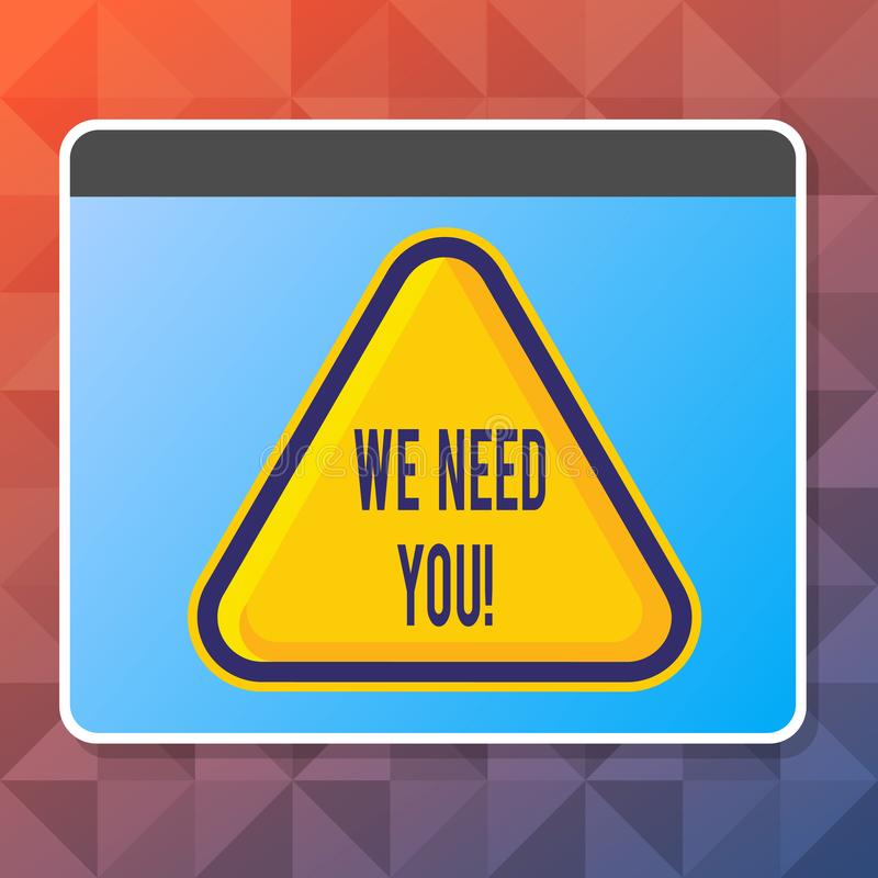 Handwriting text We Need You. Concept meaning asking someone to work together for certain job or target Blank Yellow. Handwriting text We Need You. Conceptual stock illustration