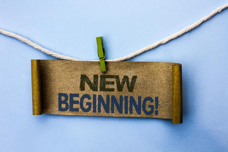 Handwriting text New Beginning Motivational Call. Concept meaning Fresh Start Changing Form Growth Life written on Cardboard Paper. Handwriting text New royalty free stock images