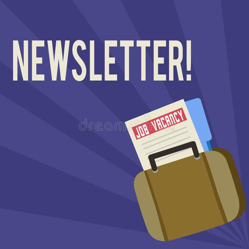Handwriting text Newsletter. Concept meaning Bulletin periodically sent to subscribed members News report Announcement royalty free illustration