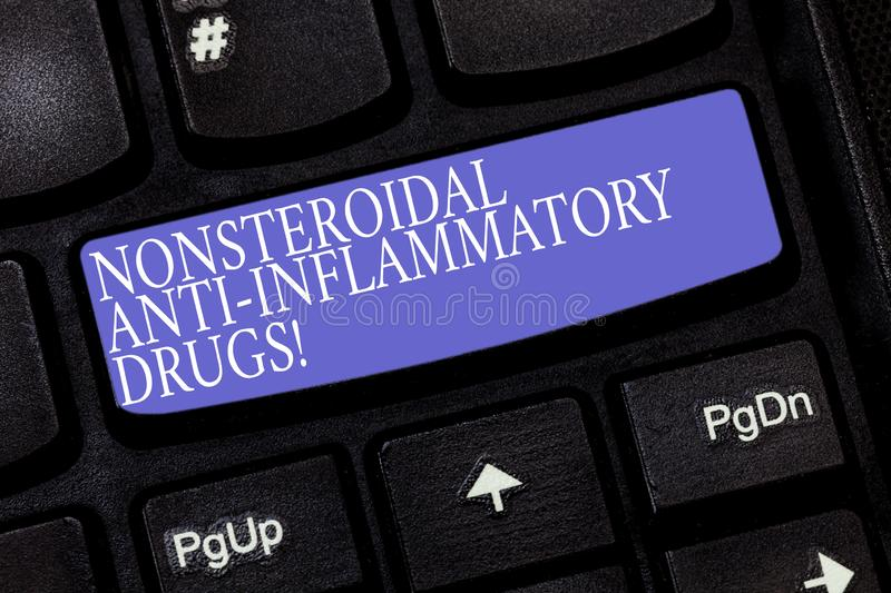 Handwriting text Nonsteroidal Anti Inflammatory Drugs. Concept meaning class of medicine that reduces pain Keyboard key. Intention to create computer message stock photos