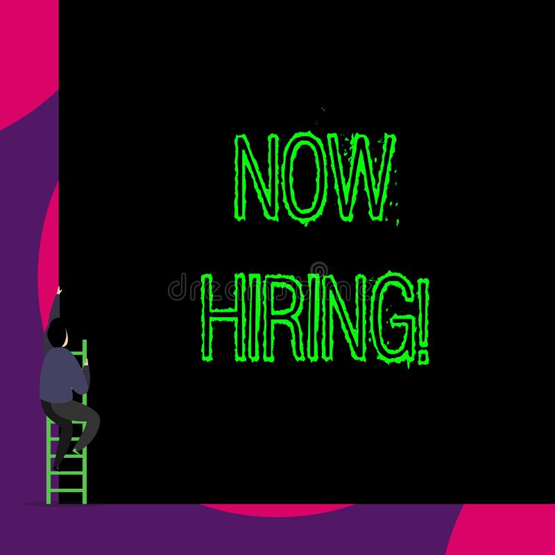 Handwriting text Now Hiring. Concept meaning finding evaluating working relationship with future employees Back view. Handwriting text Now Hiring. Conceptual vector illustration