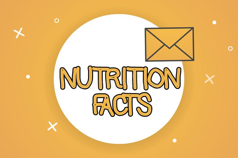Handwriting text Nutrition Facts. Concept meaning Detailed information about the nutrients of the food.  royalty free illustration