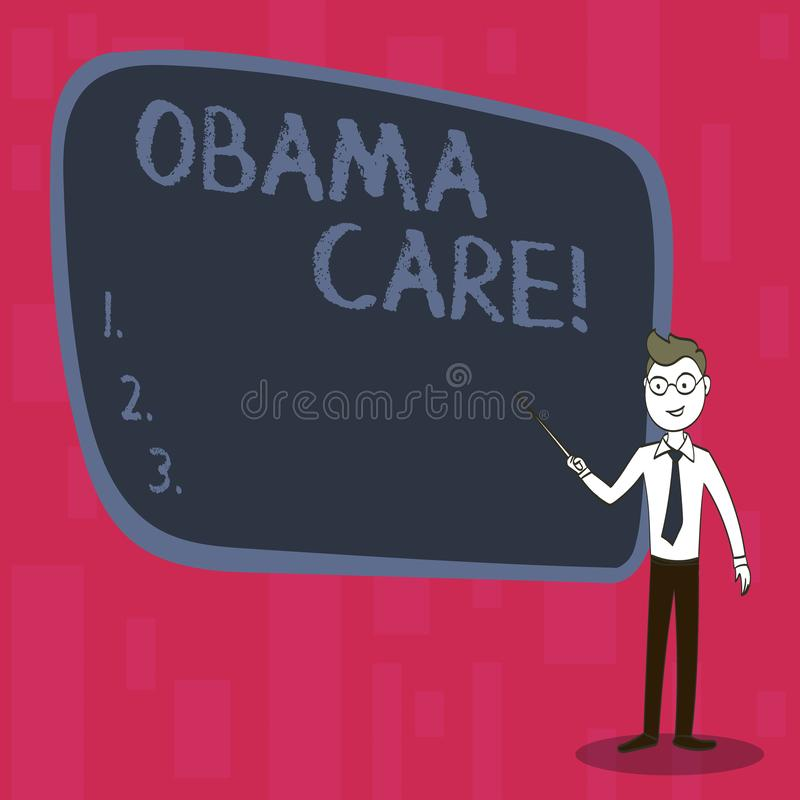 Handwriting text Obama Care. Concept meaning Government Program of Insurance System Patient Protection. Handwriting text Obama Care. Conceptual photo Government vector illustration