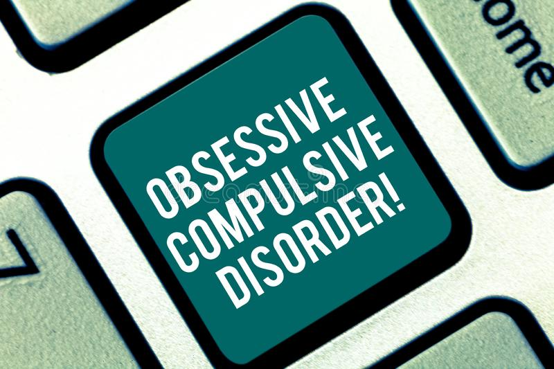 Handwriting text Obsessive Compulsive Disorder. Concept meaning Person has uncontrollable reoccurring thoughts Keyboard. Key Intention to create computer vector illustration