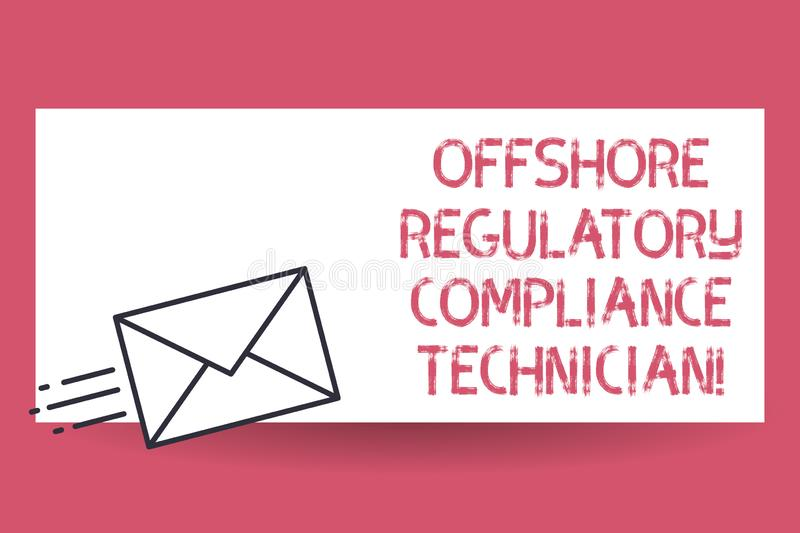 Handwriting text Offshore Regulatory Compliance Technician. Concept meaning Oil and gas industry engineering Fast Delivery icon on. Sealed Envelope Express royalty free illustration