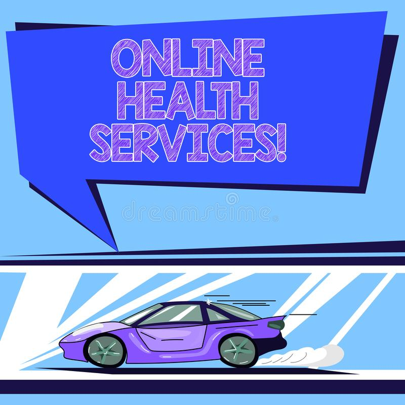 Handwriting text Online Health Services. Concept meaning Healthcare practice supported by electronic processes Car with Fast. Movement icon and Exhaust Smoke royalty free illustration