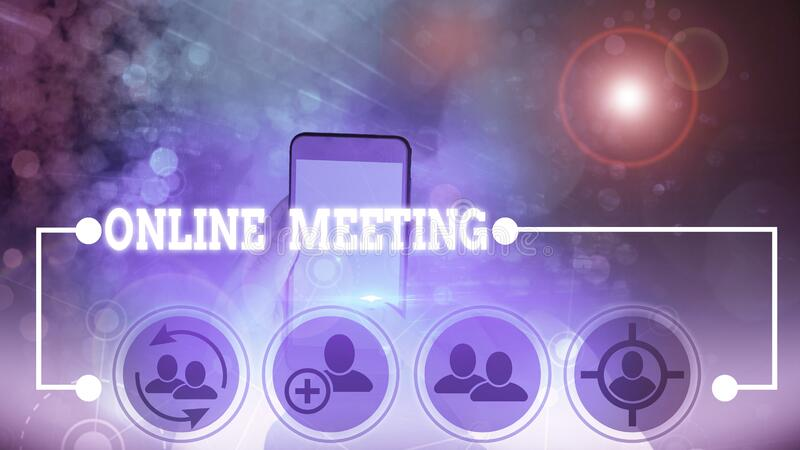 Handwriting text Online Meeting. Concept meaning a meeting that takes place over an electronic medium. Handwriting text Online Meeting. Conceptual photo a royalty free stock images