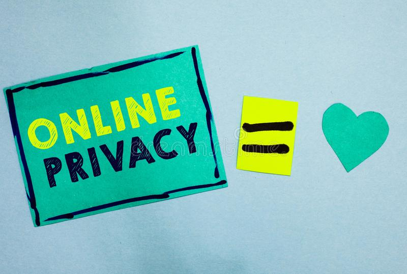 Handwriting text Online Privacy. Concept meaning Security level of personal data published via the Internet Turquoise paper notes. Reminders equal sign stock photos