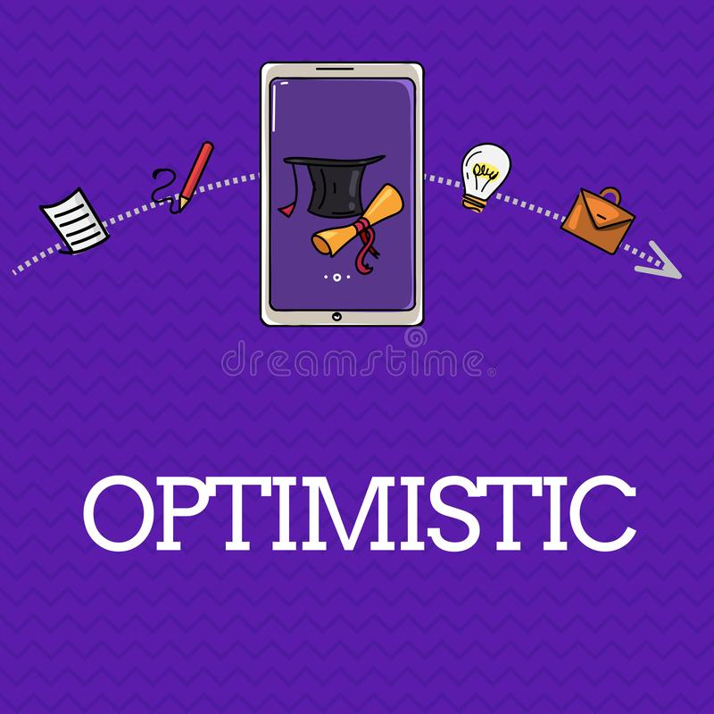 Handwriting text Optimistic. Concept meaning Hopeful and confident about the future Positive thinking.  stock illustration