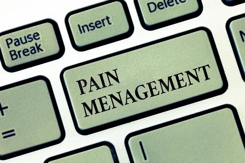 Handwriting text Pain Management. Concept meaning a branch of medicine employing an interdisciplinary approach.  royalty free stock photos