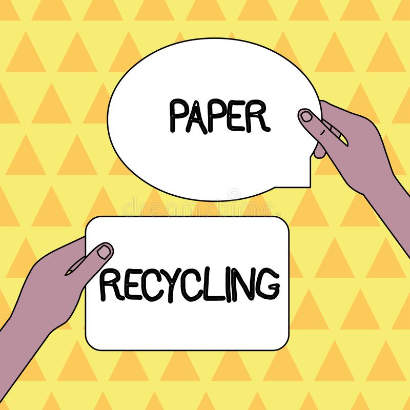 Handwriting text Paper Recycling. Concept meaning Using the waste papers in a new way by recycling them Two Blank. Handwriting text Paper Recycling. Conceptual royalty free illustration