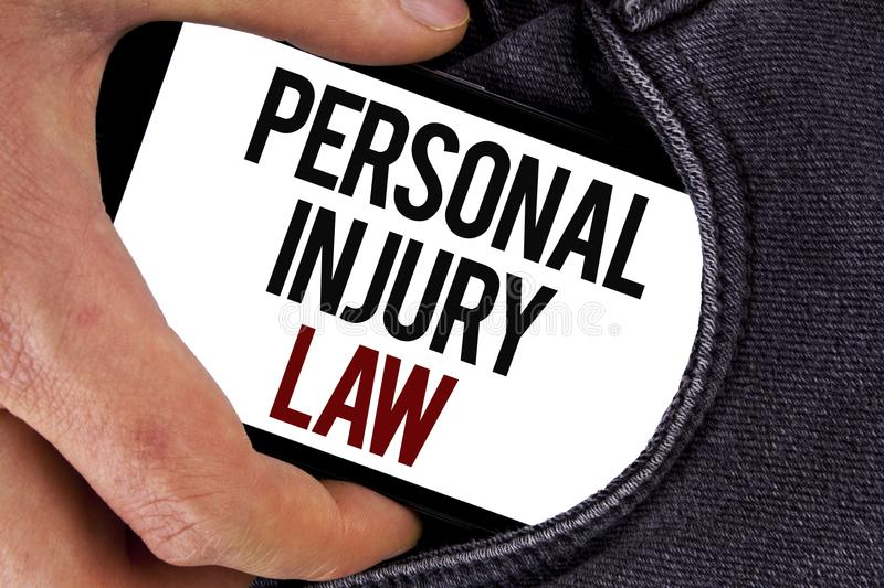 Handwriting text Personal Injury Law. Concept meaning guarantee your rights in case of hazards or risks written on Mobile Screen h. Handwriting text Personal royalty free stock photography