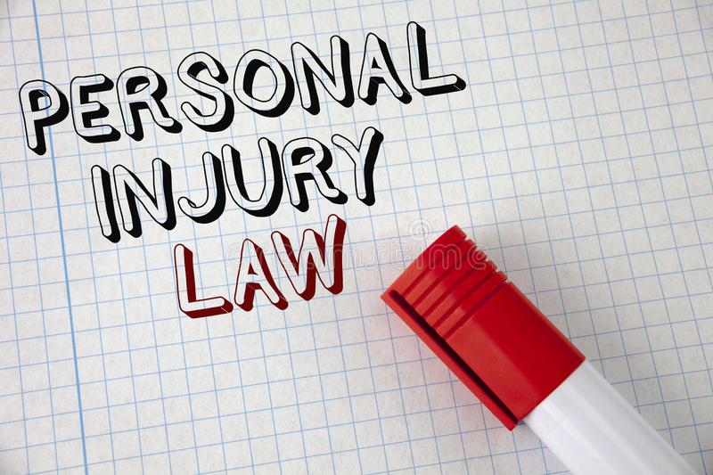 Handwriting text Personal Injury Law. Concept meaning guarantee your rights in case of hazards or risks written on Notebook Paper. Handwriting text Personal royalty free stock image